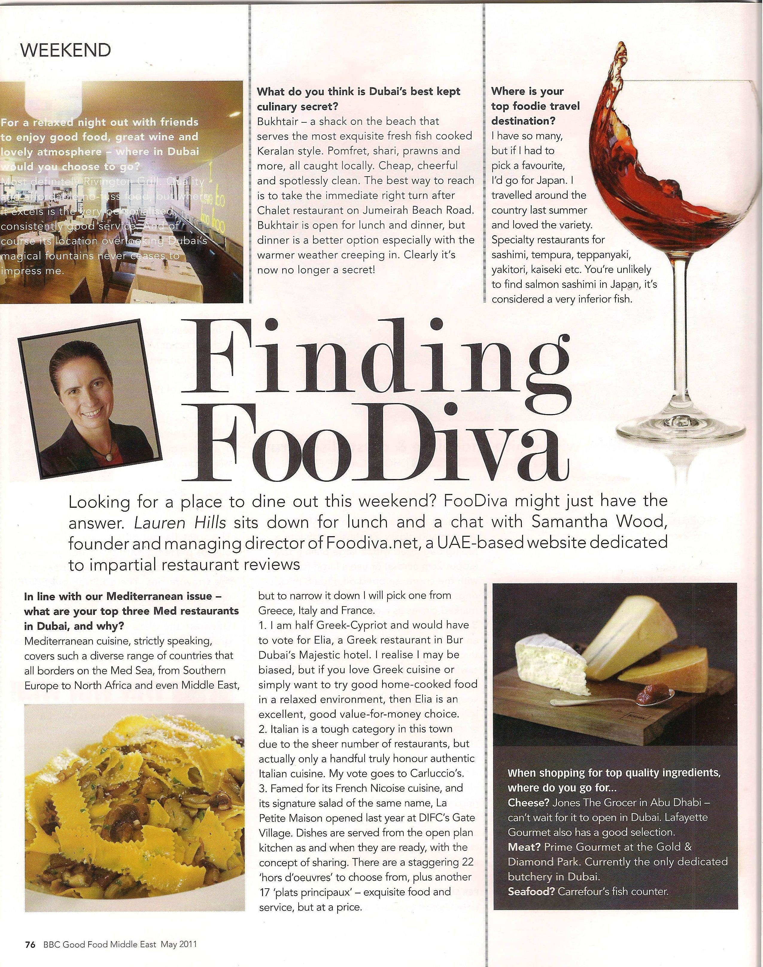 BBC Good Food Middle East interviews FooDiva