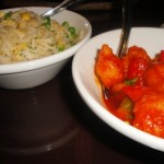 Sweet & sour prawns and egg fried rice