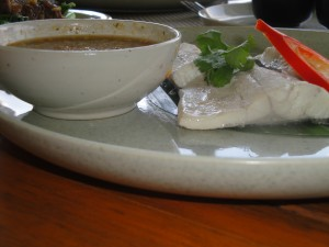 Tom yum steamed sea bass with spicy lime sauce