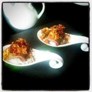 Spoonfuls of wagyu beef