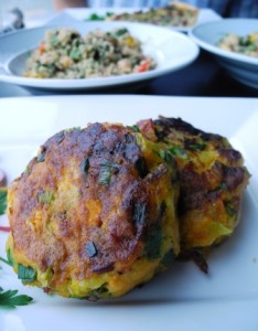 Roast pumpkin & beef bacon fritters