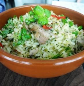 Warm tuna risoni salad