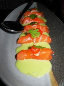Cured salmon tiradito