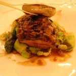 French duckling (canette) breast with foie gras, brussels sprouts and tamarind sauce