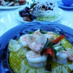 Spicy prawn with lily bulbs and almonds