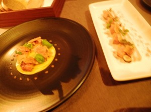 Small plates - lobster and foie gras