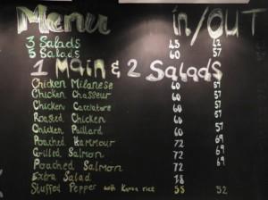 Sophie's menu