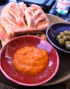 Bread, dip and olives