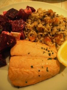 Poached salmon and salads