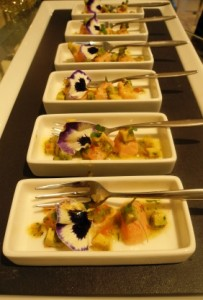 Lafayette Gourmet's canapes - salmon ceviche with avocado and edible pansy