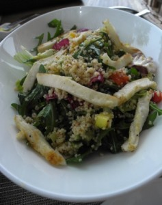 Couscous and grilled halloumi salad