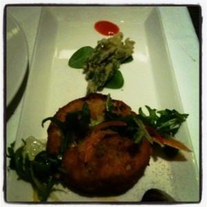 Starter 1 - ocean crab cake, sea asparagus tempura & light horseradish mayonnaise