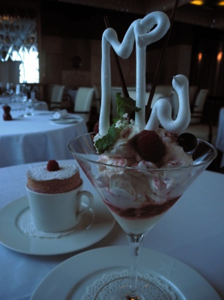 Eton Mess, with perfectly formed hot raspberry souffle in the ...