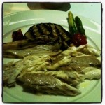The branzino and veggies plated