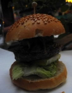 Wagyu beef burger with foie gras and Violet mustard
