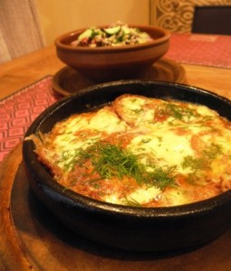 Hochu Harcho - suluguni cheese and tomato melt