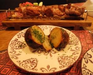Hochu Harcho - pork shashlick and potato baked in lard
