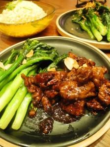 Black pepper beef, kai-lan & egg fried rice