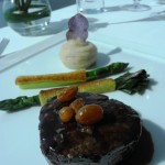 Braised Wagyu Beef Tenderloin, Pepperberry Mustard Mash, Pistachio Crusted Asparagus, Thyme & Raisin Jus