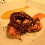 Octopus grilled on coals