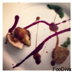 Starter a la Jackson Pollock (Summertime) quail breast and roulade with lemon confit, beetroot and balsamic