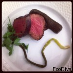 Main course a la Joan Miro (Sun) - Fillet of beef with smoked eggplant, capers, herbs and anchovies