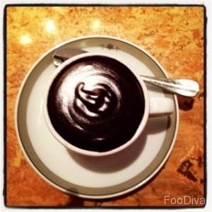 The Wolseley - a cuppa of hot dark chocolcate fondant
