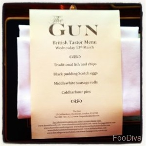 The Gun - gastropub menu