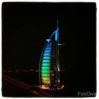 Burj Al Arab view from Uptown bar at Jumeirah Beach Hotel