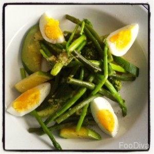 Steamed green veggies with egg