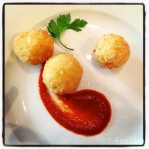 Saffron and mozzarella risotto balls