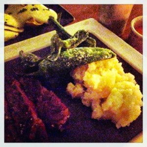 Wagyu rib eye with Padron green peppers