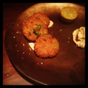 Crab and chermoula cakes