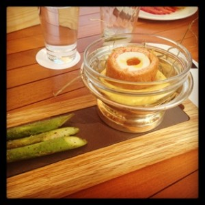 Sublime smoked salmon scotch egg at Reform on hollandaise sauce with asparagus