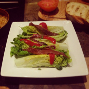 Lettuce and anchovies