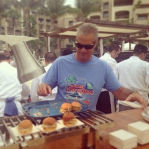 Eric Ripert with his crab cake burger