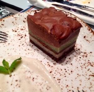 Mint squares with a chocolate mousse layer