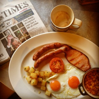 Full English breakfast complete with The Times at Gillray's