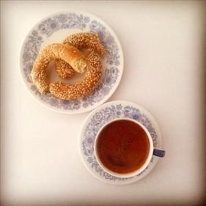 Greek coffee with koulouri
