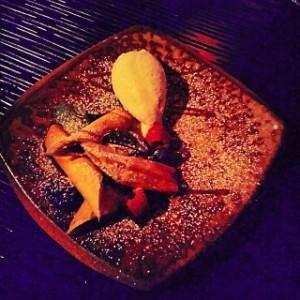 Jackfruit strudel with coconut sorbet