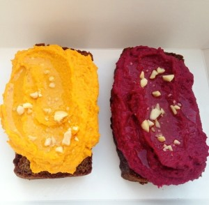 Carrot and Beetroot Hummuses on Paleo Zucchini Superfood Bread