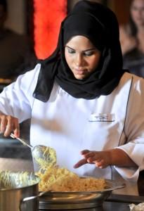 Chef Khulood Atiq cooking balaleet