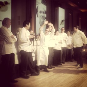 Chef Heinz Beck cheering