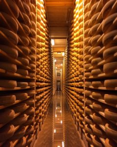 Wheels of Comte at Fort des Rousses - French cheese - FooDiva