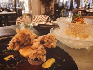 Soft shell crab causa and seafood ceviche - Aji The Palm Dubai - Dubai restaurants - Foodiva