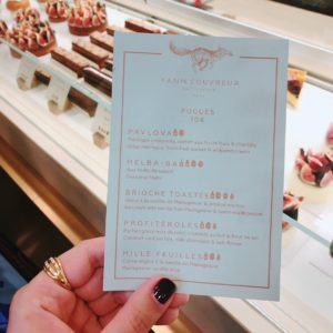 Menu at Yann Couvreur Patisserie - French patisseries - FooDiva