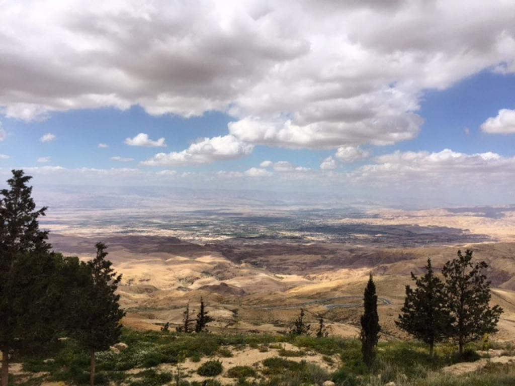 View of the promised land from Moses' memorial at Mount Nebo in Madaba
