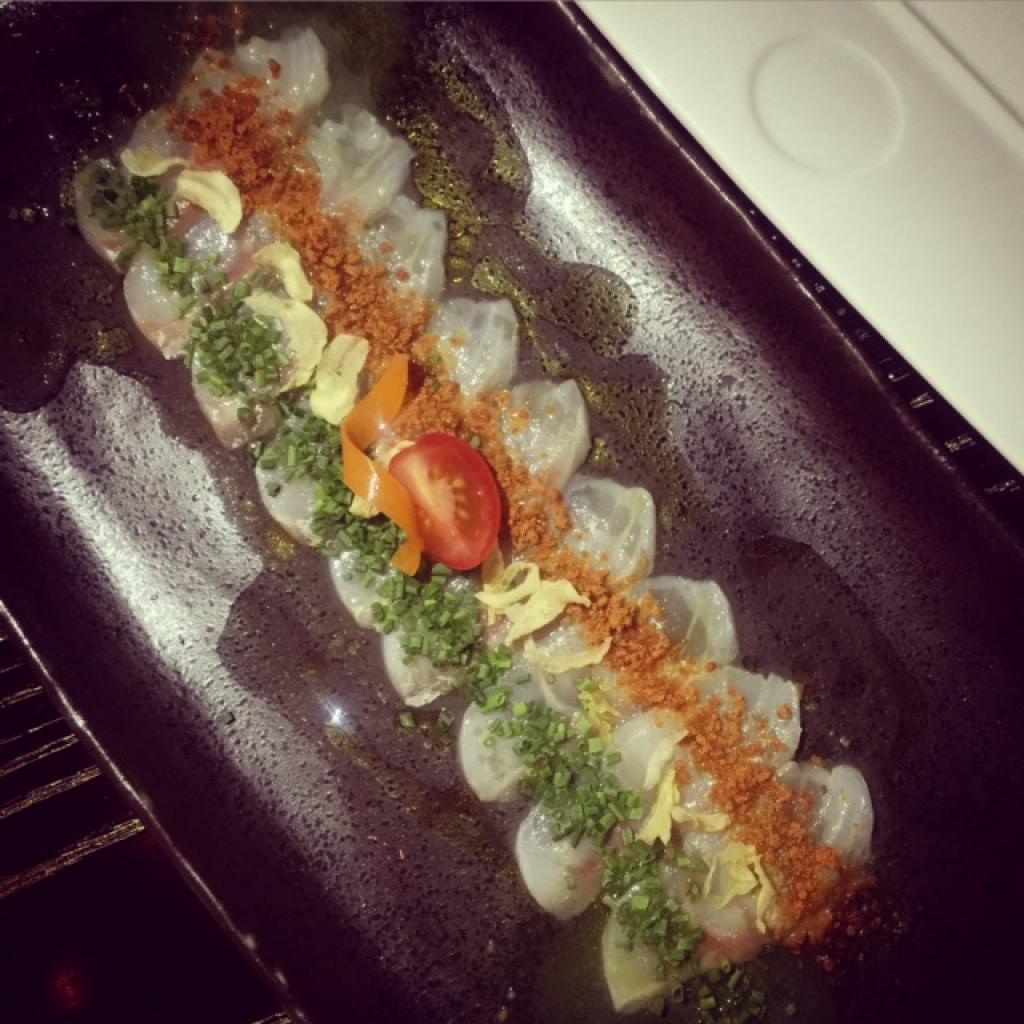 Nobu Doha's whitefish sashimi with dried shiso
