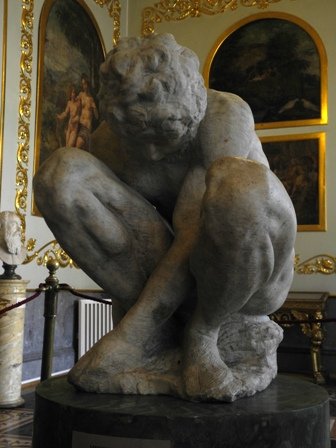 Michelangelo's Crouching Boy at the world-famous Hermitage museum