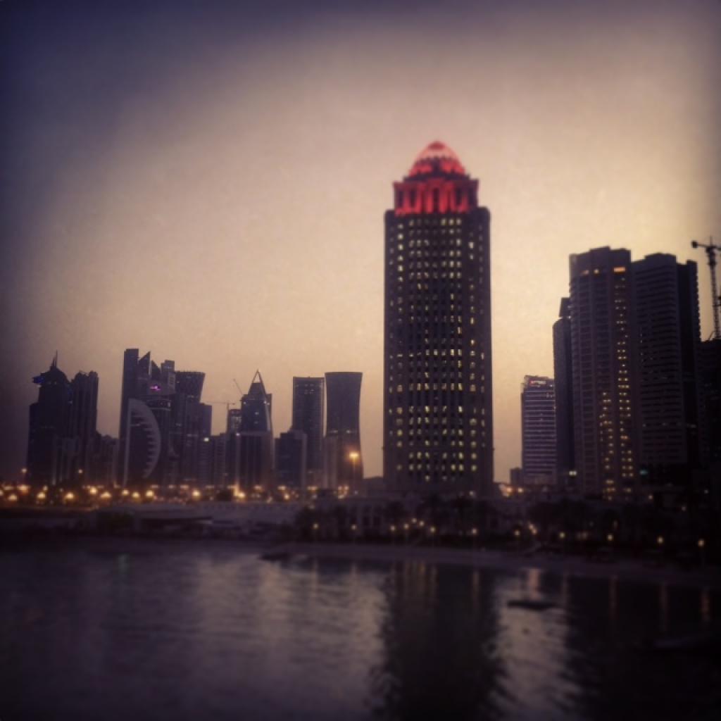 The view across Doha's skyline from Nobu